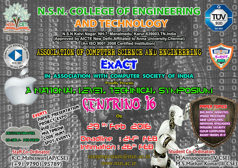 NSN College of Engineering and Technology, (NSN), Karur, Tamil Nadu